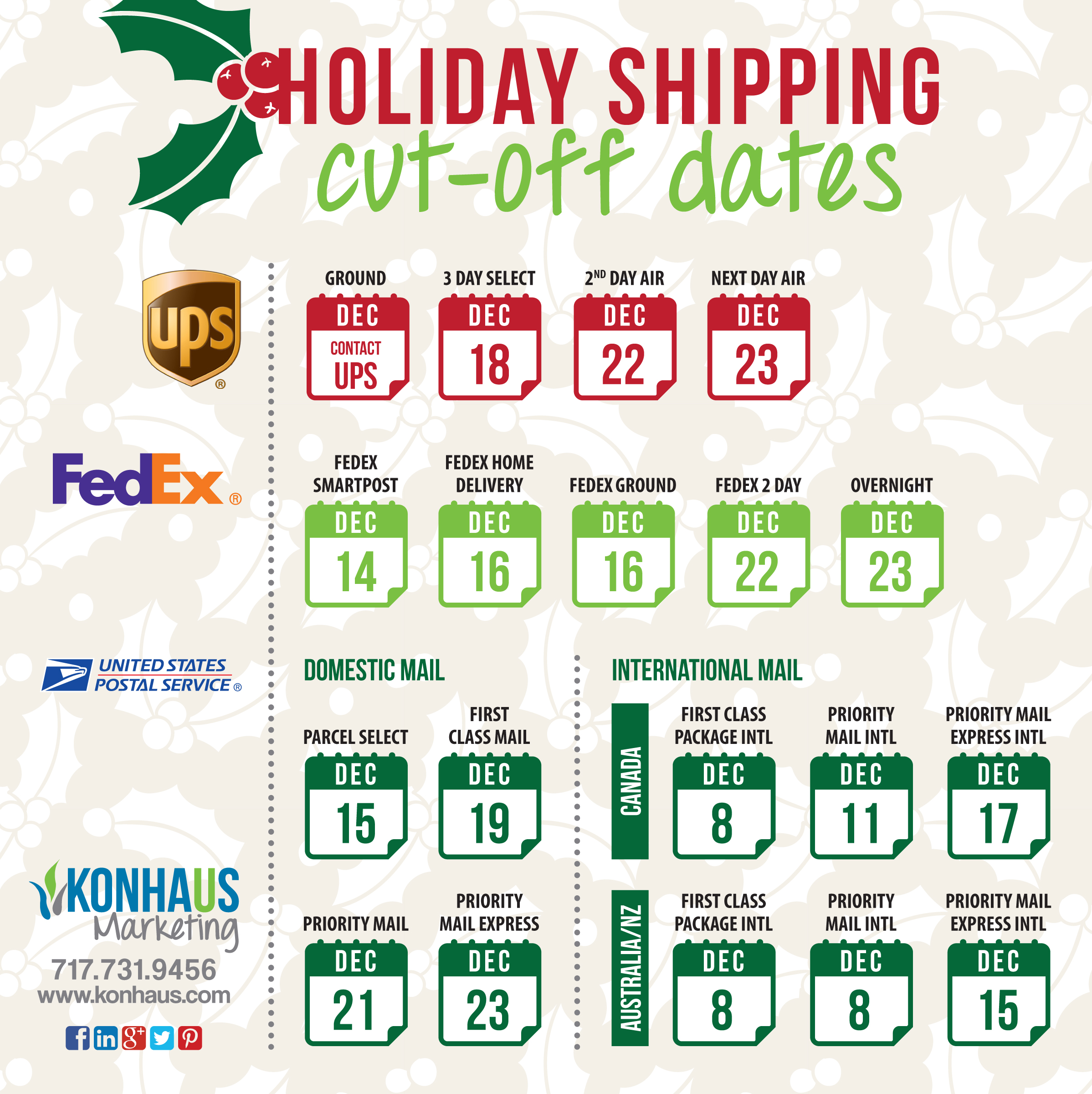 ups christmas shipping deadlines 2018