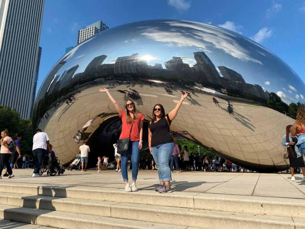 Sarah and Makenna in front of Chicago Bean
